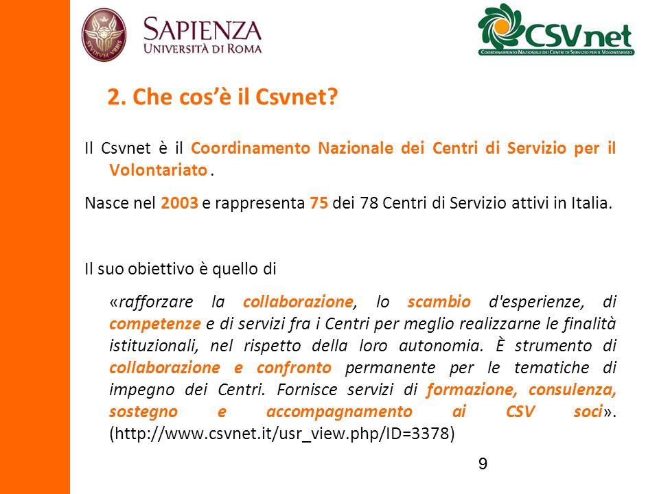 99 Il Csvnet è il Coordinamento Nazionale dei Centri di Servizio per il Volontariato. Nasce nel 2003 e rappresenta 75 dei 78 Centri di Servizio attivi