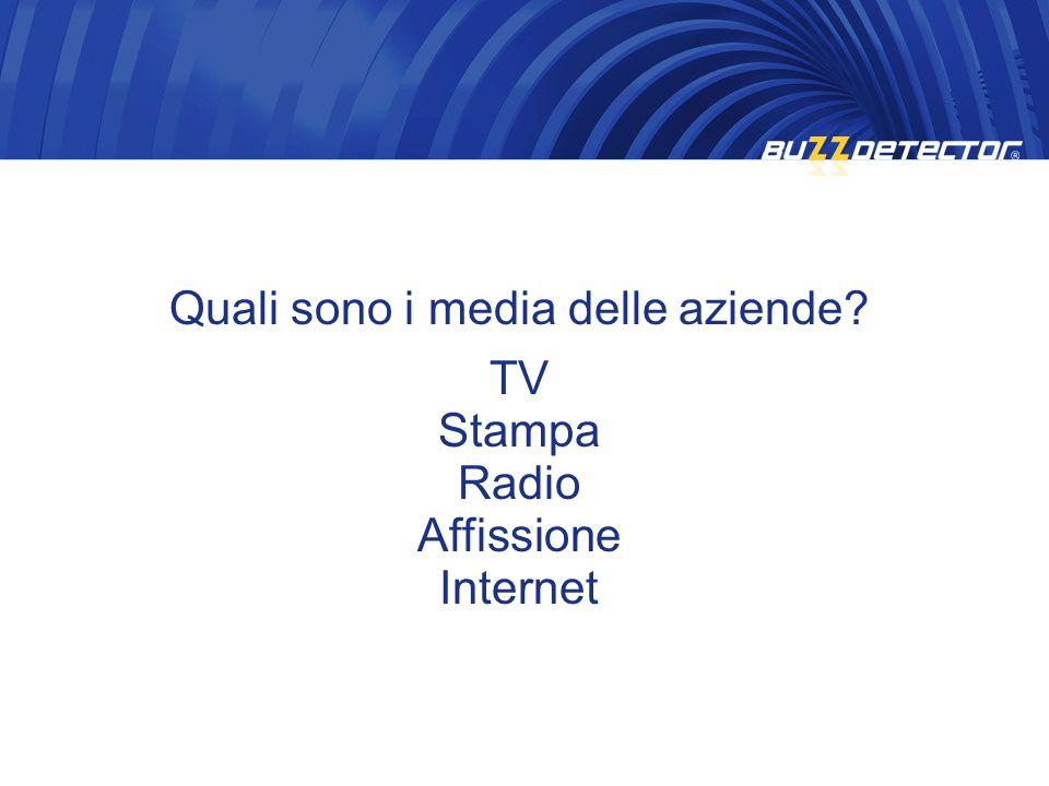 Quali sono i media delle aziende? TV Stampa Radio Affissione Internet