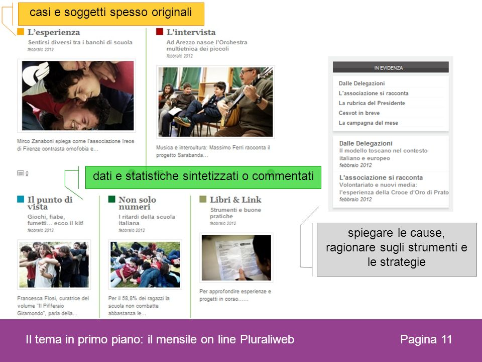 Pagina 11 Il tema in primo piano: il mensile on line Pluraliweb dati e statistiche sintetizzati o commentati casi e soggetti spesso originali spiegare le cause, ragionare sugli strumenti e le strategie