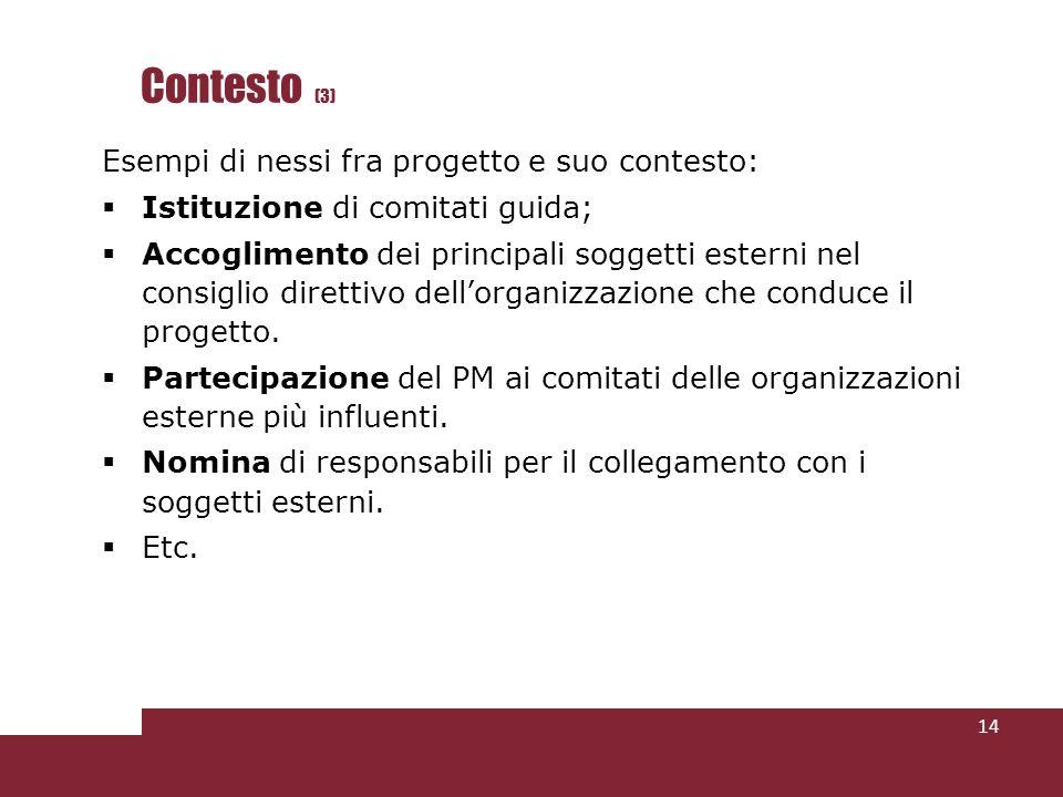 Contesto (3) Esempi di nessi fra progetto e suo contesto: Istituzione di comitati guida; Accoglimento dei principali soggetti esterni nel consiglio direttivo dellorganizzazione che conduce il progetto.