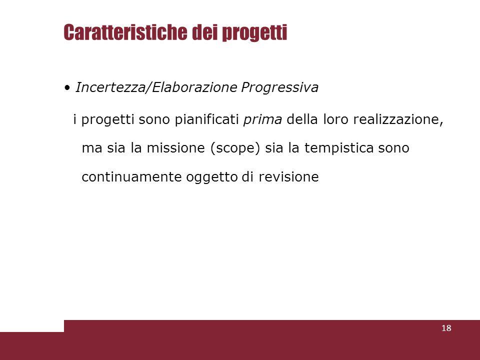 Caratteristiche dei progetti Incertezza/Elaborazione Progressiva i progetti sono pianificati prima della loro realizzazione, ma sia la missione (scope) sia la tempistica sono continuamente oggetto di revisione 18