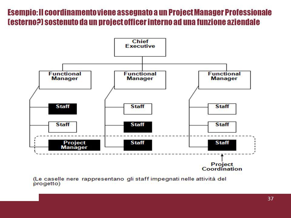 37 Esempio: Il coordinamento viene assegnato a un Project Manager Professionale (esterno?) sostenuto da un project officer interno ad una funzione aziendale