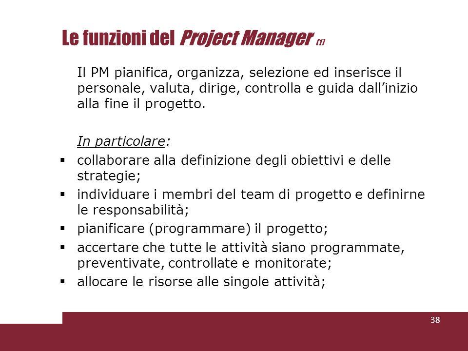 Le funzioni del Project Manager (1) Il PM pianifica, organizza, selezione ed inserisce il personale, valuta, dirige, controlla e guida dallinizio alla fine il progetto.