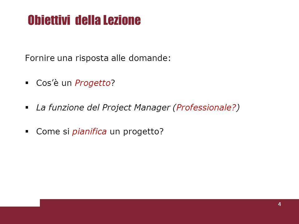 Funzioni della schedulazione Consentire di programmare e controllare lavanzamento della realizzazione del progetto.