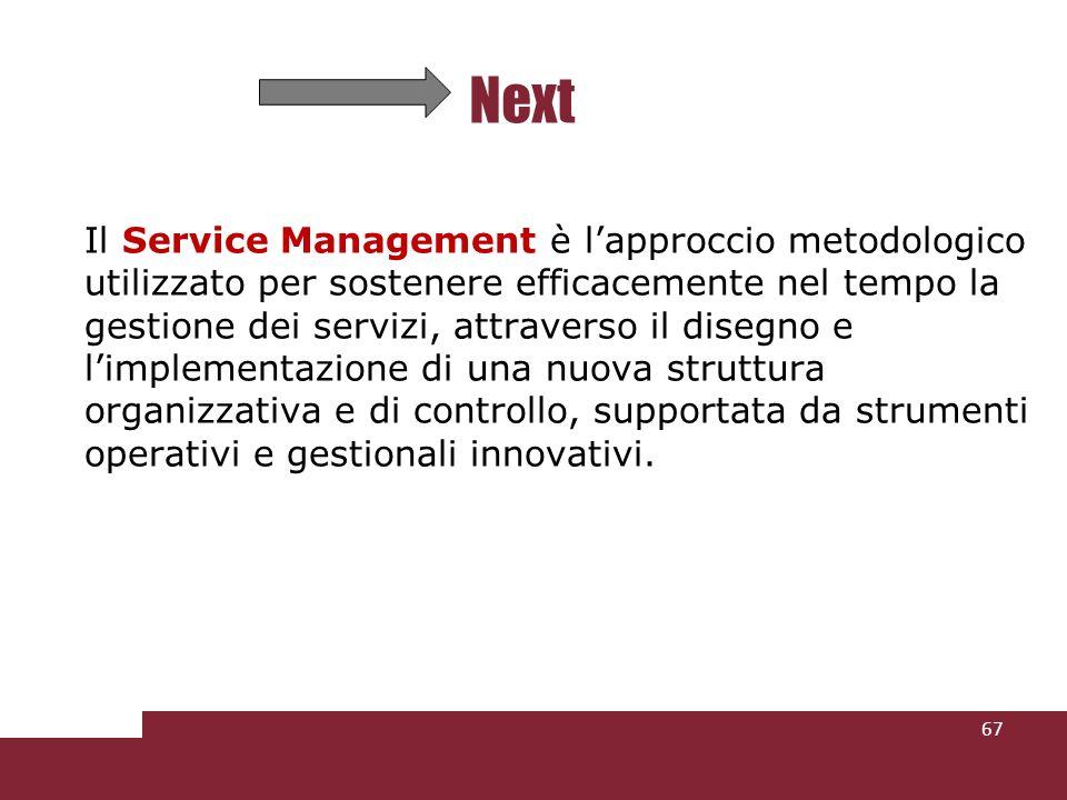 Il Service Management è lapproccio metodologico utilizzato per sostenere efficacemente nel tempo la gestione dei servizi, attraverso il disegno e limplementazione di una nuova struttura organizzativa e di controllo, supportata da strumenti operativi e gestionali innovativi.