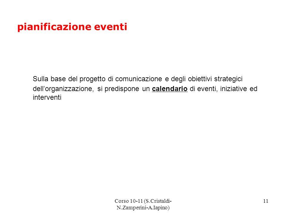 Corso 10-11 (S.Cristaldi- N.Zamperini-A.Iapino) 11 pianificazione eventi Sulla base del progetto di comunicazione e degli obiettivi strategici dellorganizzazione, si predispone un calendario di eventi, iniziative ed interventi