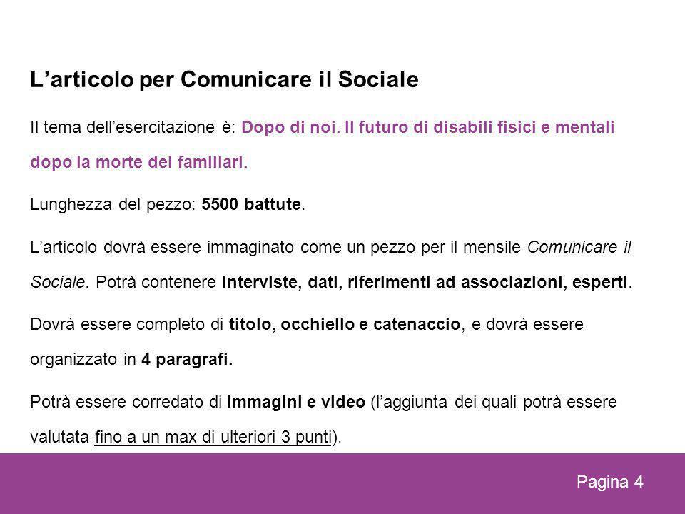 Larticolo per Comunicare il Sociale Il tema dellesercitazione è: Dopo di noi.