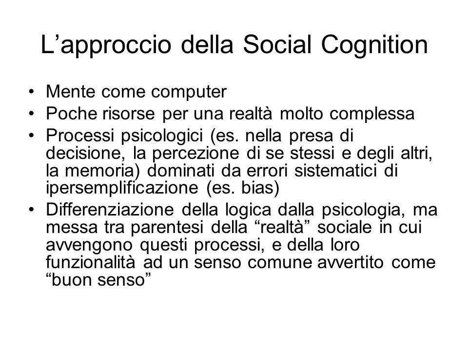 Lapproccio della Social Cognition Mente come computer Poche risorse per una realtà molto complessa Processi psicologici (es.