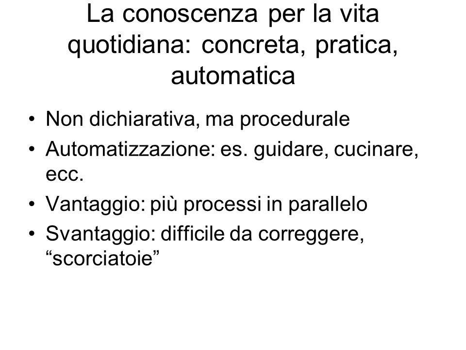 La conoscenza per la vita quotidiana: concreta, pratica, automatica Non dichiarativa, ma procedurale Automatizzazione: es.