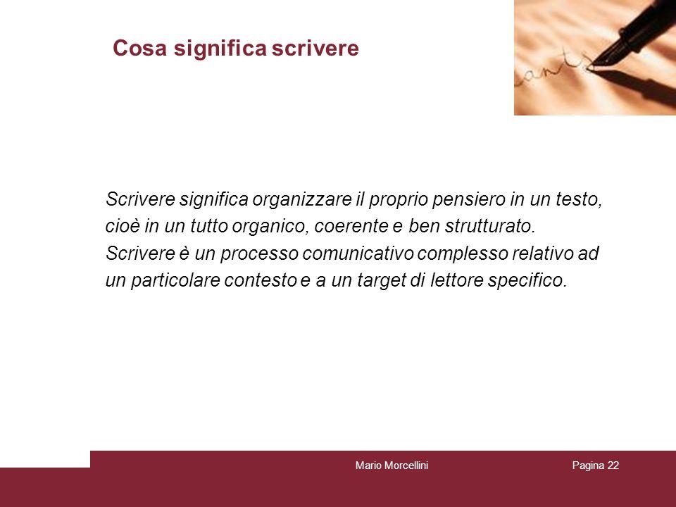 Mario MorcelliniPagina 23 Cosa significa scrivere Scrivere significa rappresentare i propri pensieri, fare lesercizio continuo di legami concettuali e di combinazione di elementi lessicali, quindi significa potenziare la propria struttura mentale.
