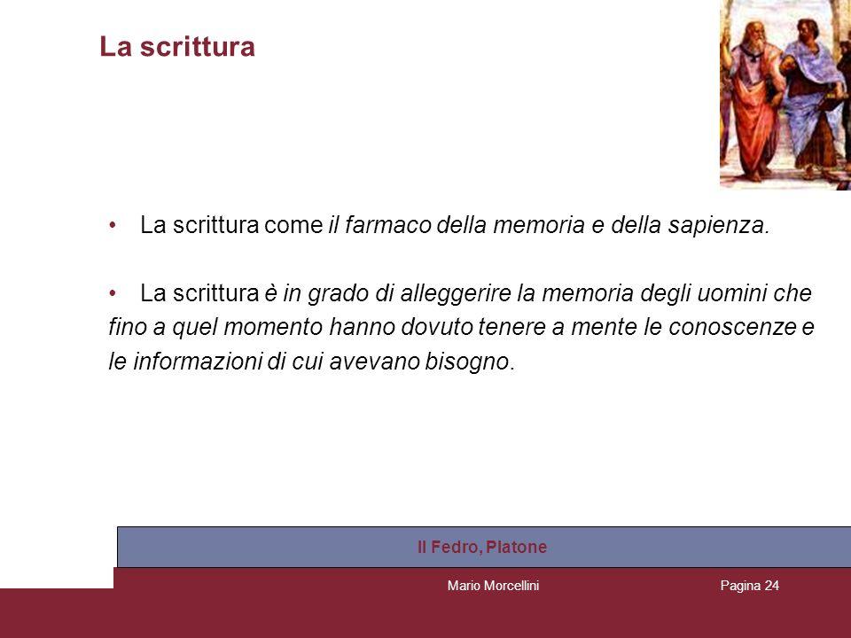 Mario MorcelliniPagina 25 La scrittura La scrittura, al tempo stesso, crea una falsa percezione della conoscenza.