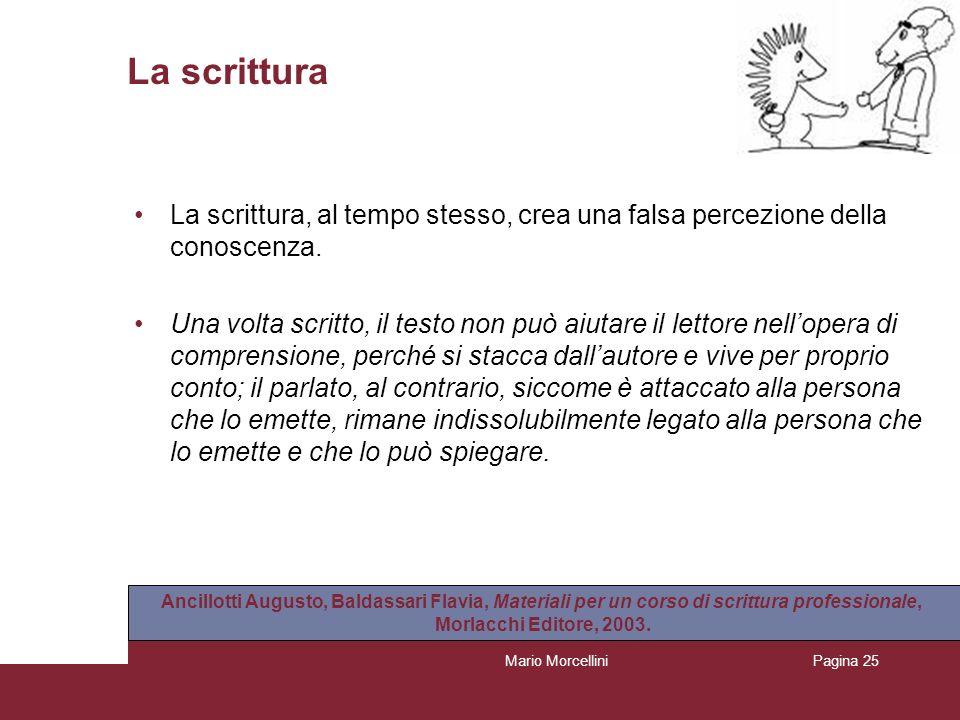 Mario MorcelliniPagina 25 La scrittura La scrittura, al tempo stesso, crea una falsa percezione della conoscenza. Una volta scritto, il testo non può