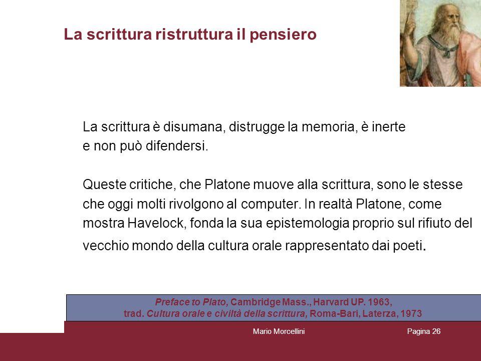 Mario MorcelliniPagina 26 La scrittura ristruttura il pensiero La scrittura è disumana, distrugge la memoria, è inerte e non può difendersi. Queste cr