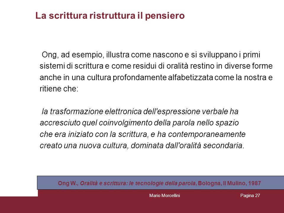 Mario MorcelliniPagina 27 La scrittura ristruttura il pensiero Ong, ad esempio, illustra come nascono e si sviluppano i primi sistemi di scrittura e c