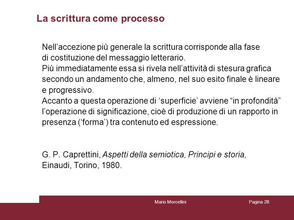 Mario MorcelliniPagina 28 La scrittura come processo Nellaccezione più generale la scrittura corrisponde alla fase di costituzione del messaggio lette