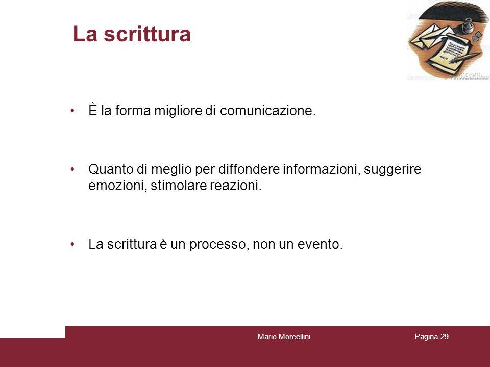 Mario MorcelliniPagina 29 La scrittura È la forma migliore di comunicazione. Quanto di meglio per diffondere informazioni, suggerire emozioni, stimola