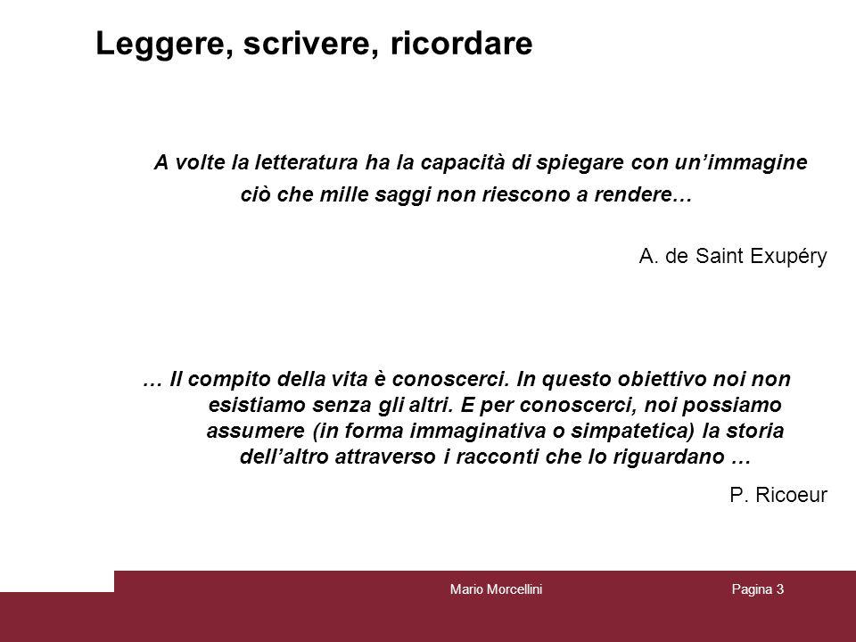 Mario MorcelliniPagina 3 Leggere, scrivere, ricordare … A volte la letteratura ha la capacità di spiegare con unimmagine ciò che mille saggi non riesc