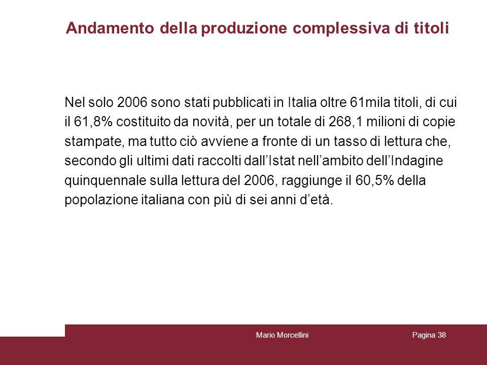 Andamento della produzione complessiva di titoli Mario MorcelliniPagina 39 Fonte: Istat – Multiscopo Produzione libraria dati definitivi 2006, reperibili al sito: http://www.istat.it/dati/dataset/20080415_00/http://www.istat.it/dati/dataset/20080415_00/