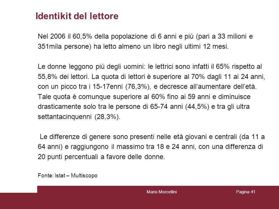 Identikit del lettore Nel 2006 il 60,5% della popolazione di 6 anni e più (pari a 33 milioni e 351mila persone) ha letto almeno un libro negli ultimi