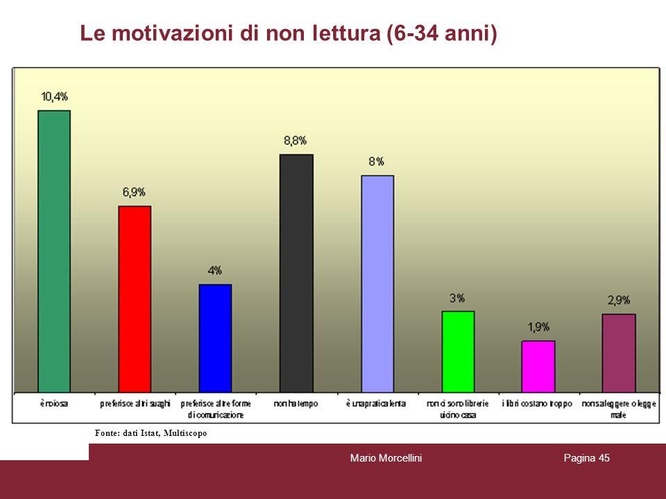 Le motivazioni di non lettura (6-34 anni) Mario MorcelliniPagina 45 Fonte: dati Istat, Multiscopo