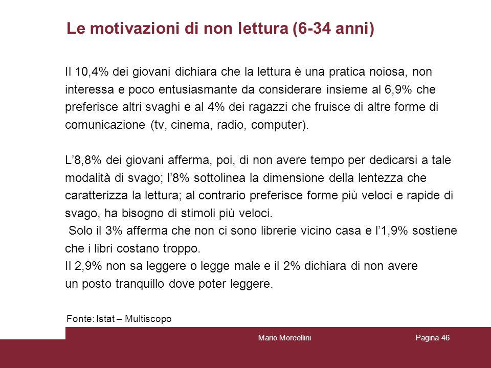 Le motivazioni di non lettura (6-34 anni) Il 10,4% dei giovani dichiara che la lettura è una pratica noiosa, non interessa e poco entusiasmante da con