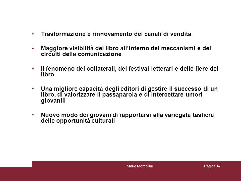 Mario MorcelliniPagina 47 Trasformazione e rinnovamento dei canali di vendita Maggiore visibilità del libro allinterno dei meccanismi e dei circuiti d
