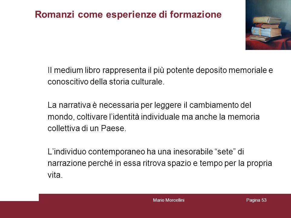 Mario MorcelliniPagina 53 Romanzi come esperienze di formazione Il medium libro rappresenta il più potente deposito memoriale e conoscitivo della stor