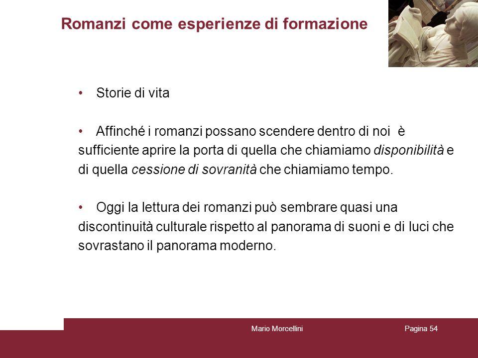 Mario MorcelliniPagina 54 Romanzi come esperienze di formazione Storie di vita Affinché i romanzi possano scendere dentro di noi è sufficiente aprire