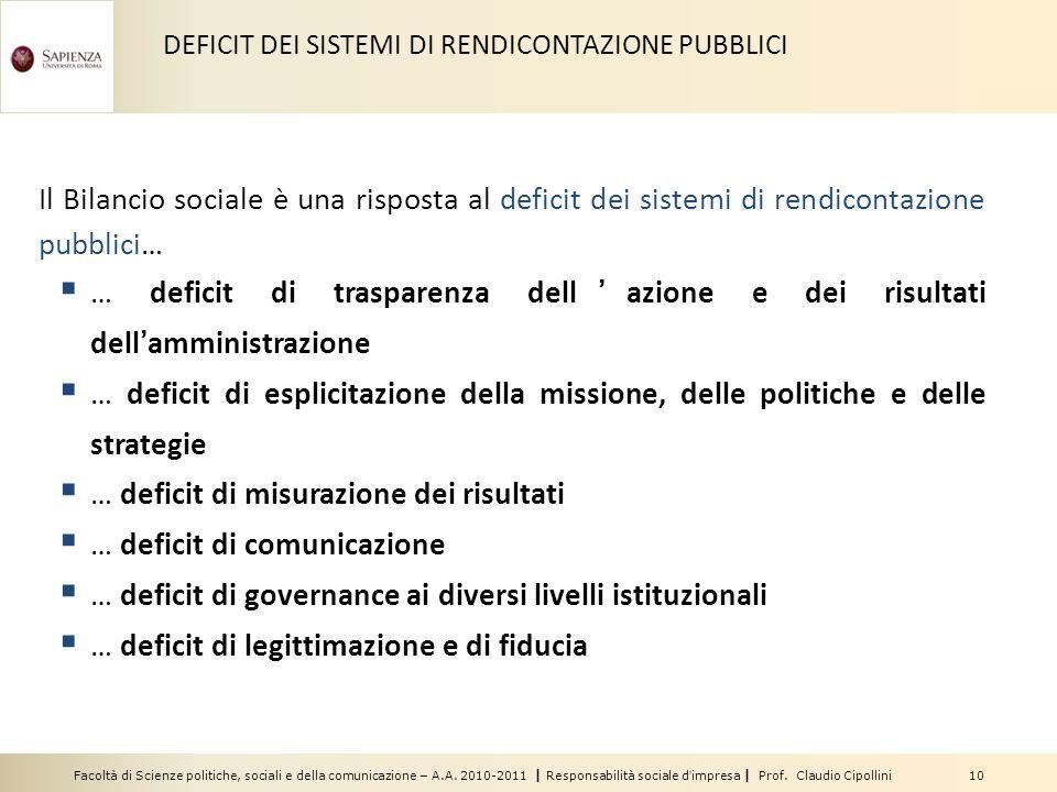 Facoltà di Scienze politiche, sociali e della comunicazione – A.A. 2010-2011 | Responsabilità sociale dimpresa | Prof. Claudio Cipollini 10 Il Bilanci