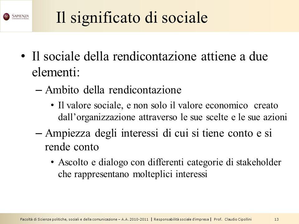 Facoltà di Scienze politiche, sociali e della comunicazione – A.A. 2010-2011 | Responsabilità sociale dimpresa | Prof. Claudio Cipollini 13 Il signifi
