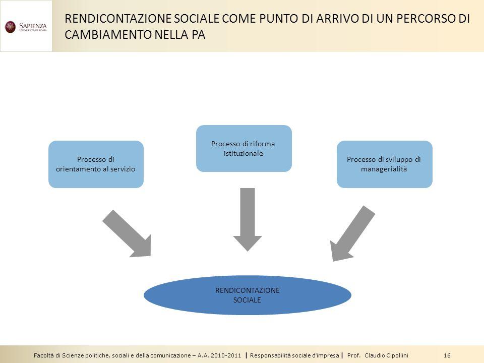 Facoltà di Scienze politiche, sociali e della comunicazione – A.A. 2010-2011 | Responsabilità sociale dimpresa | Prof. Claudio Cipollini 16 RENDICONTA