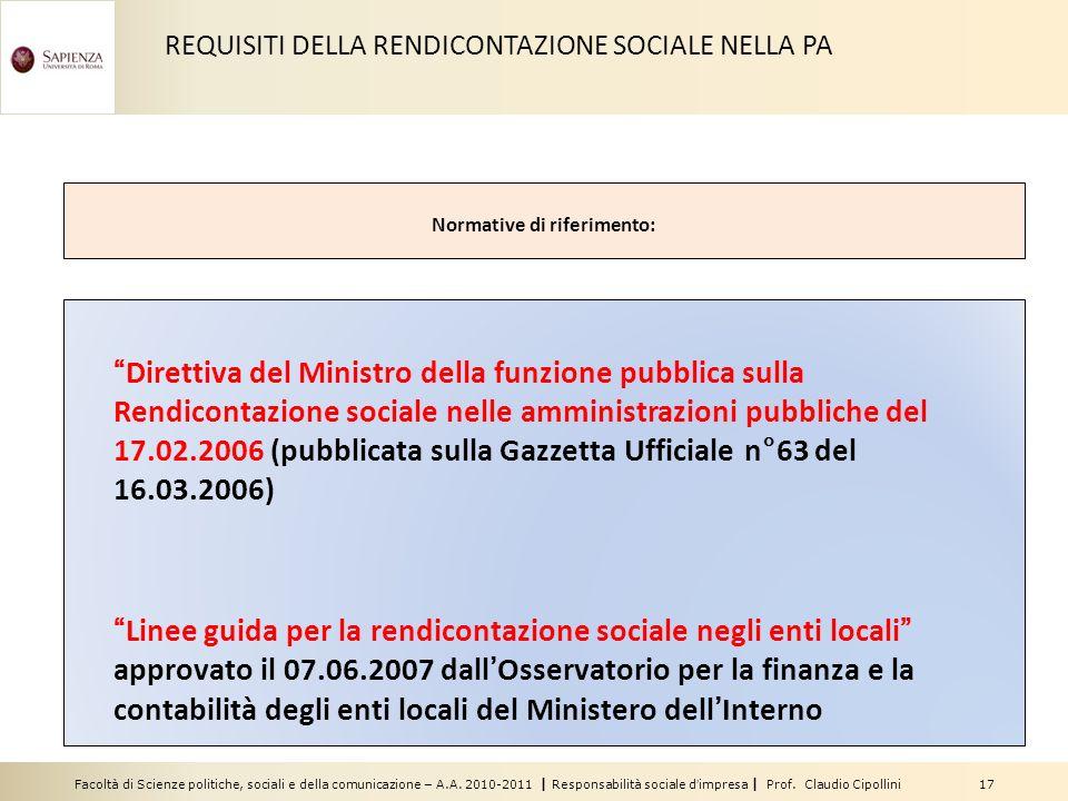 Facoltà di Scienze politiche, sociali e della comunicazione – A.A. 2010-2011 | Responsabilità sociale dimpresa | Prof. Claudio Cipollini 17 REQUISITI