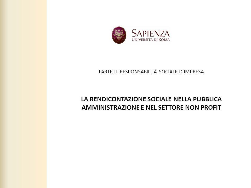 2 LA RENDICONTAZIONE SOCIALE NELLA PUBBLICA AMMINISTRAZIONE E NEL SETTORE NON PROFIT