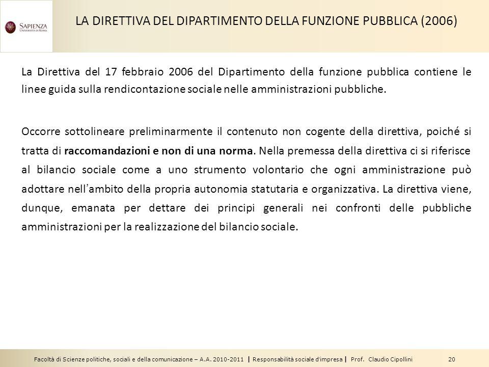 Facoltà di Scienze politiche, sociali e della comunicazione – A.A. 2010-2011 | Responsabilità sociale dimpresa | Prof. Claudio Cipollini 20 La Diretti