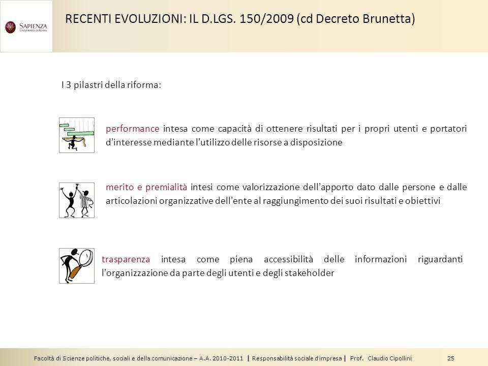 Facoltà di Scienze politiche, sociali e della comunicazione – A.A. 2010-2011 | Responsabilità sociale dimpresa | Prof. Claudio Cipollini 25 I 3 pilast