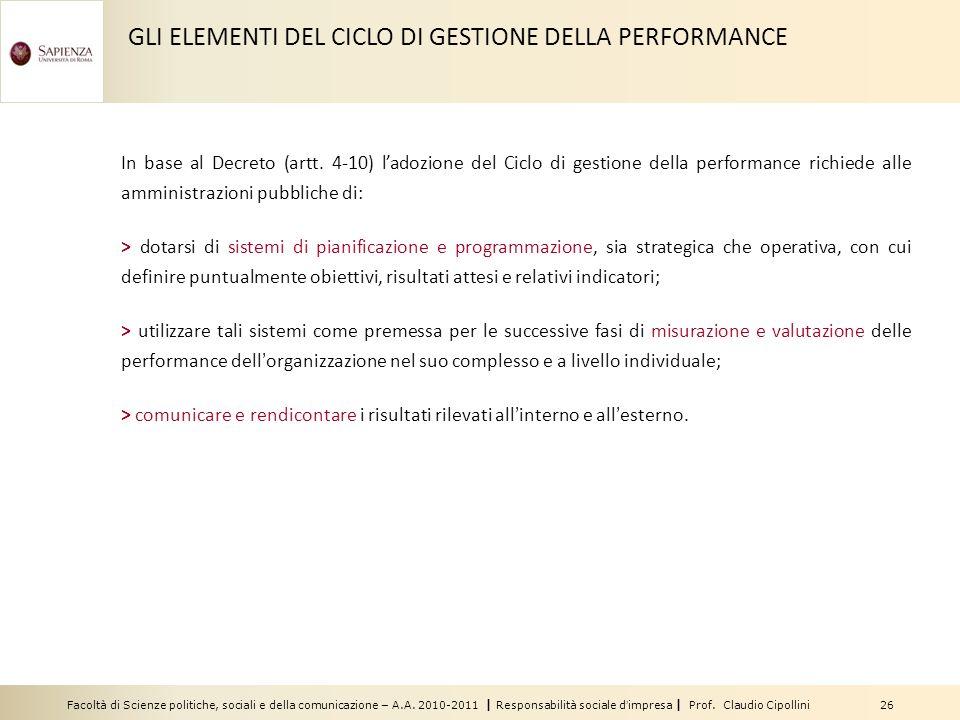Facoltà di Scienze politiche, sociali e della comunicazione – A.A. 2010-2011 | Responsabilità sociale dimpresa | Prof. Claudio Cipollini 26 In base al