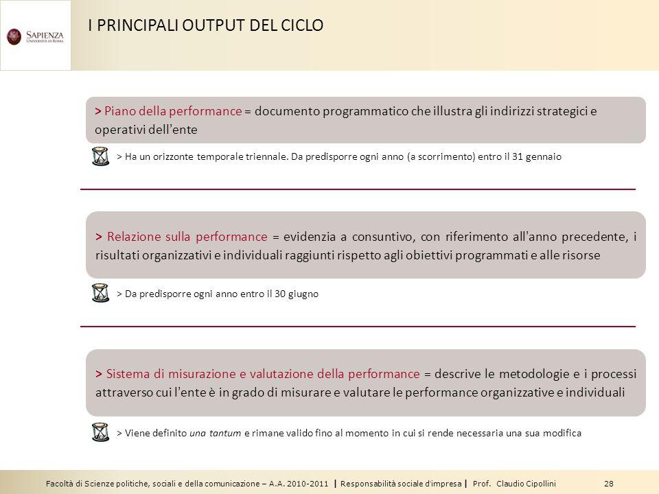 Facoltà di Scienze politiche, sociali e della comunicazione – A.A. 2010-2011 | Responsabilità sociale dimpresa | Prof. Claudio Cipollini 28 I PRINCIPA