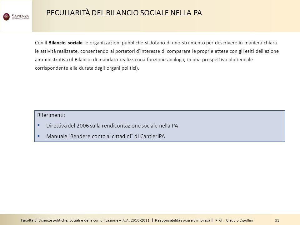 Facoltà di Scienze politiche, sociali e della comunicazione – A.A. 2010-2011 | Responsabilità sociale dimpresa | Prof. Claudio Cipollini 31 Riferiment