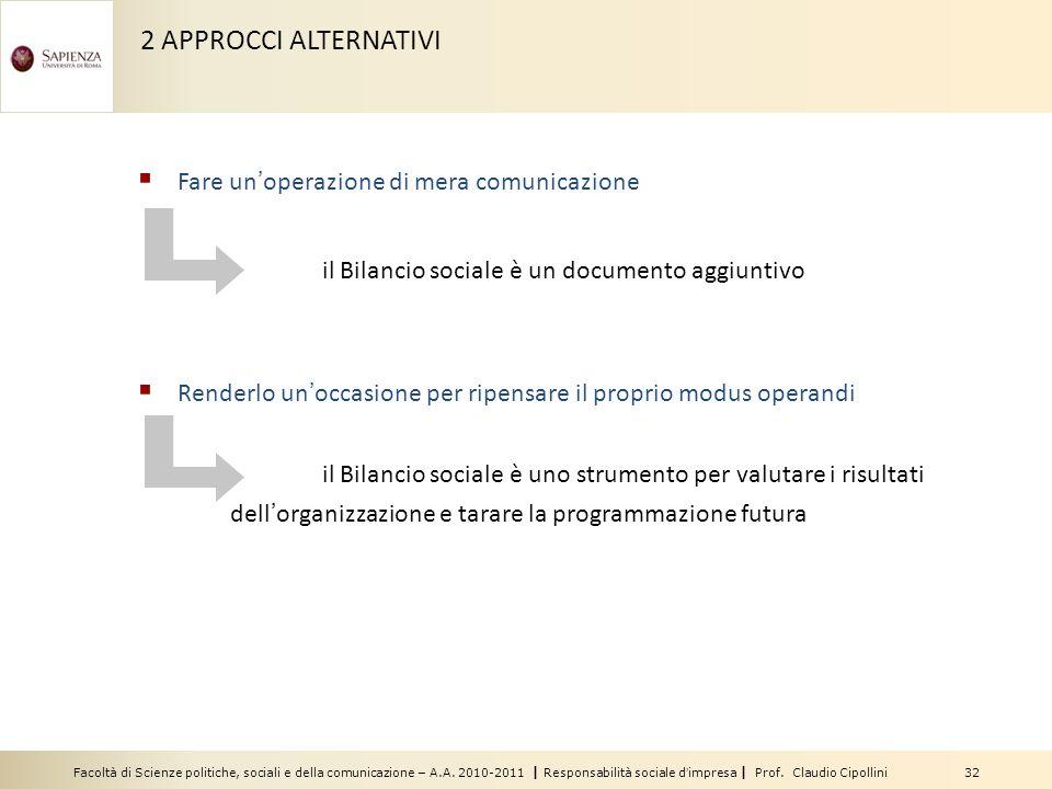 Facoltà di Scienze politiche, sociali e della comunicazione – A.A. 2010-2011 | Responsabilità sociale dimpresa | Prof. Claudio Cipollini 32 2 APPROCCI