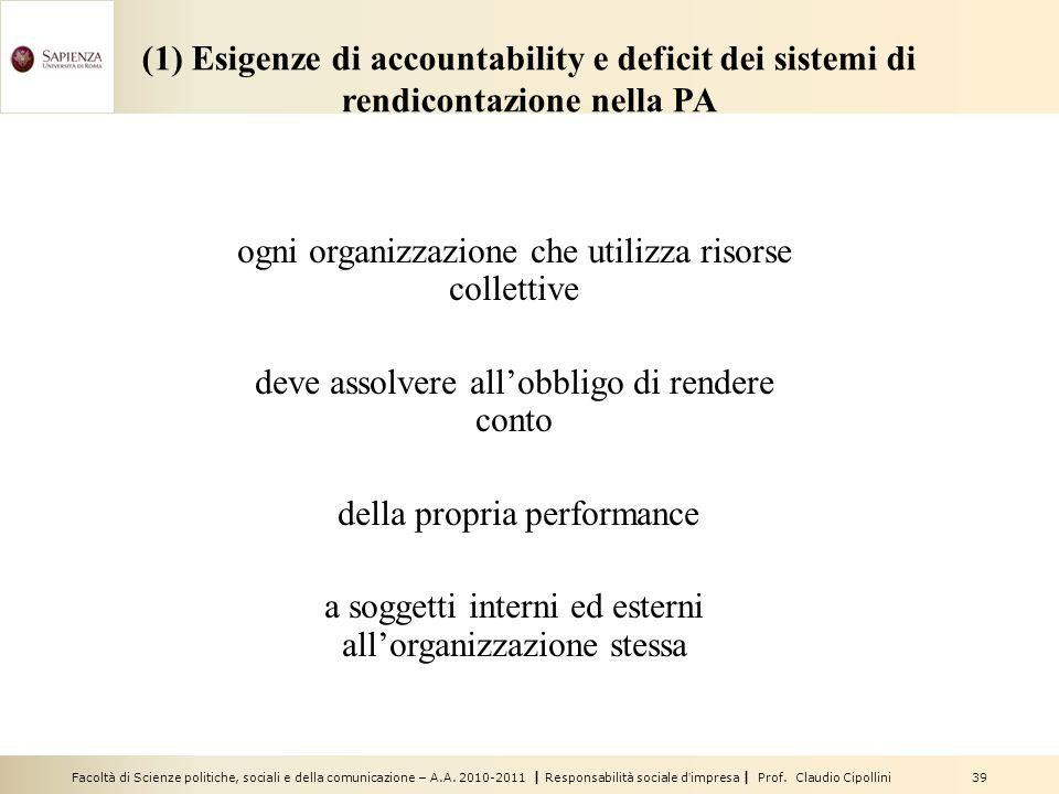 Facoltà di Scienze politiche, sociali e della comunicazione – A.A. 2010-2011 | Responsabilità sociale dimpresa | Prof. Claudio Cipollini 39 (1) Esigen