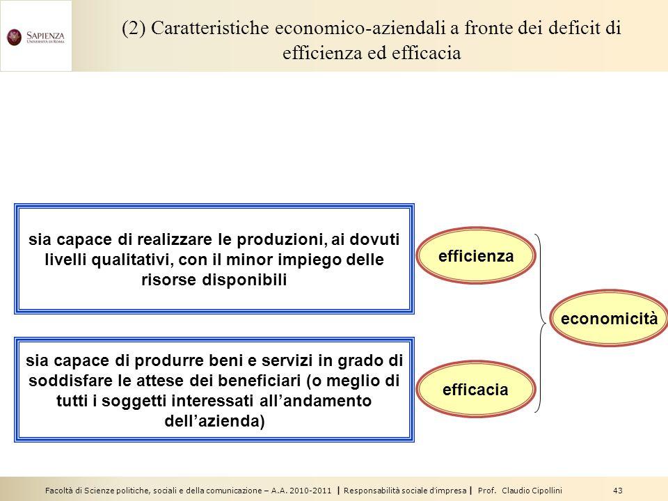 Facoltà di Scienze politiche, sociali e della comunicazione – A.A. 2010-2011 | Responsabilità sociale dimpresa | Prof. Claudio Cipollini 43 (2) Caratt