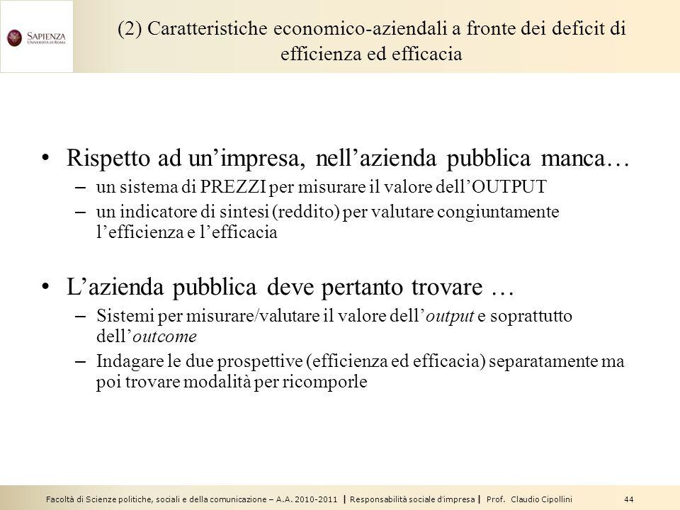 Facoltà di Scienze politiche, sociali e della comunicazione – A.A. 2010-2011 | Responsabilità sociale dimpresa | Prof. Claudio Cipollini 44 (2) Caratt