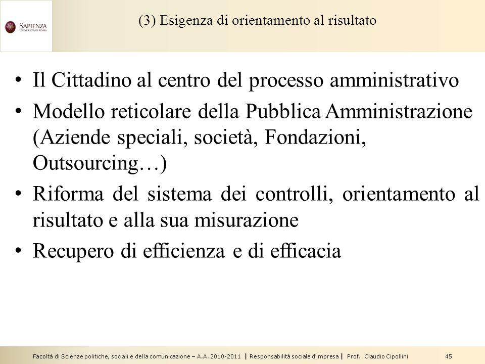 Facoltà di Scienze politiche, sociali e della comunicazione – A.A. 2010-2011 | Responsabilità sociale dimpresa | Prof. Claudio Cipollini 45 (3) Esigen