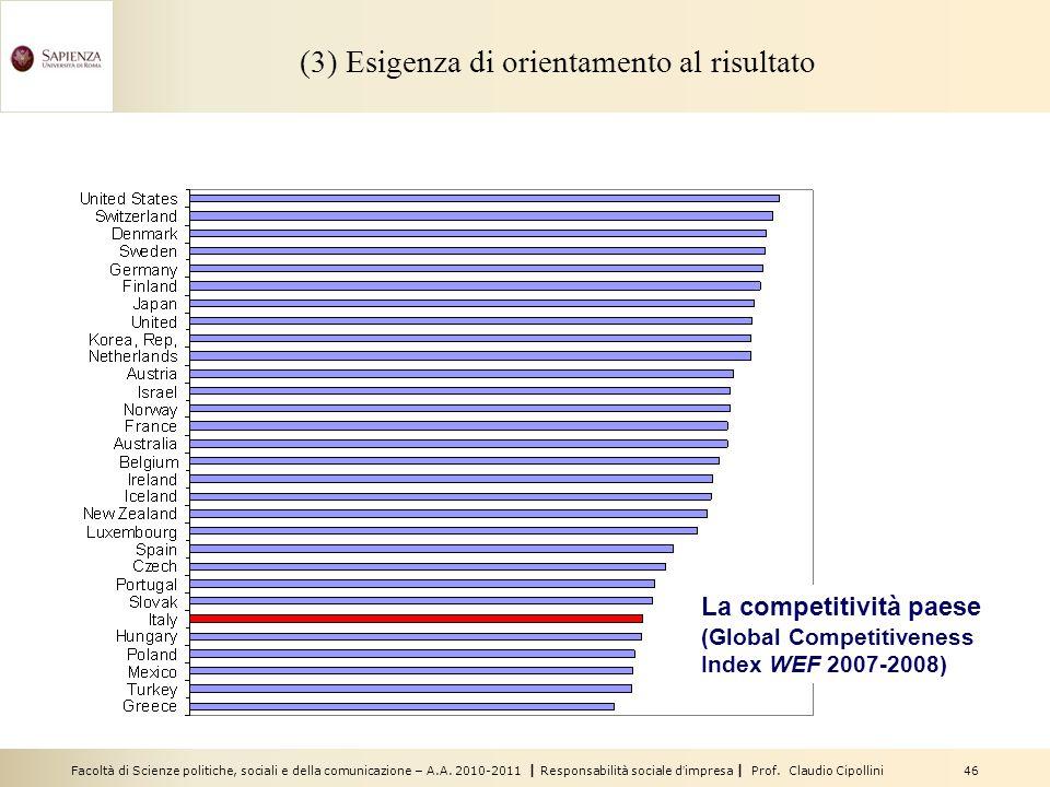 Facoltà di Scienze politiche, sociali e della comunicazione – A.A. 2010-2011 | Responsabilità sociale dimpresa | Prof. Claudio Cipollini 46 (3) Esigen
