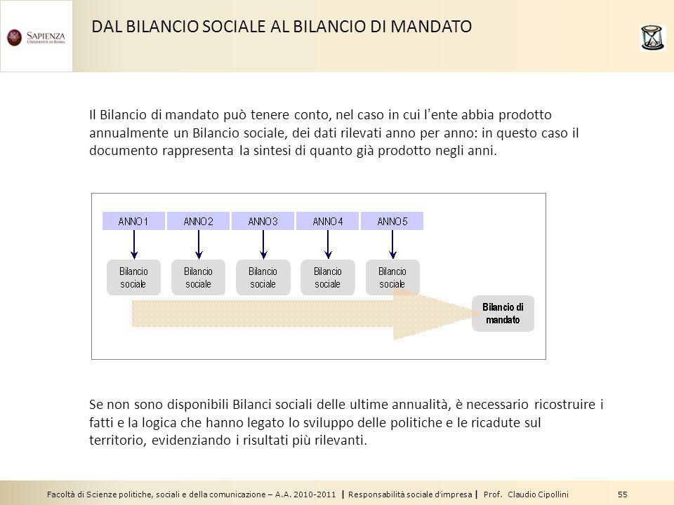 Facoltà di Scienze politiche, sociali e della comunicazione – A.A. 2010-2011 | Responsabilità sociale dimpresa | Prof. Claudio Cipollini 55 DAL BILANC