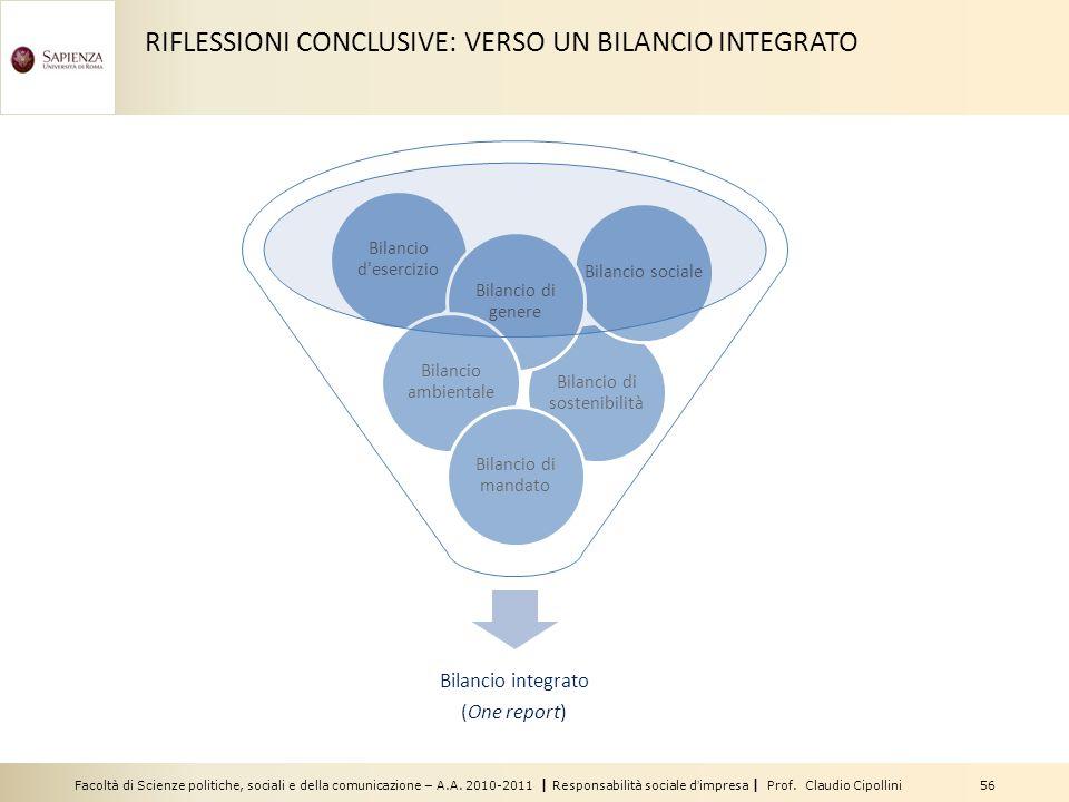 Facoltà di Scienze politiche, sociali e della comunicazione – A.A. 2010-2011 | Responsabilità sociale dimpresa | Prof. Claudio Cipollini 56 Bilancio d