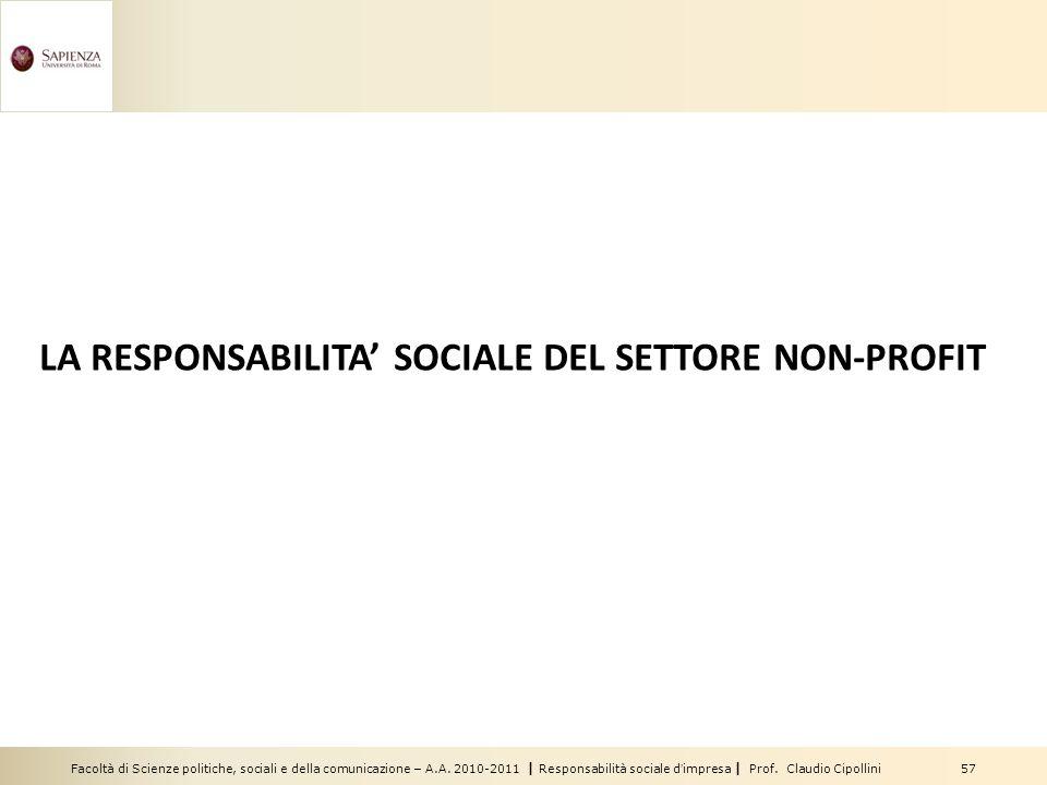 Facoltà di Scienze politiche, sociali e della comunicazione – A.A. 2010-2011 | Responsabilità sociale dimpresa | Prof. Claudio Cipollini 57 LA RESPONS