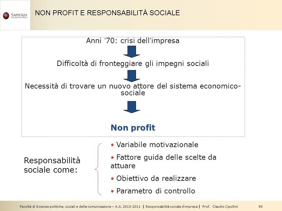 Facoltà di Scienze politiche, sociali e della comunicazione – A.A. 2010-2011 | Responsabilità sociale dimpresa | Prof. Claudio Cipollini 59 Anni 70: c