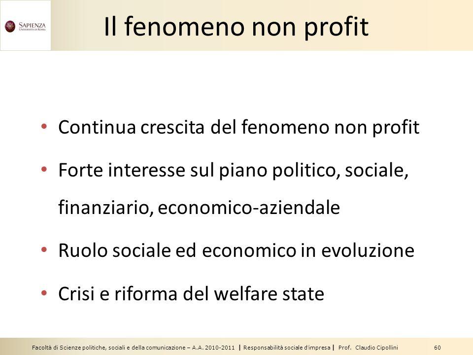 Facoltà di Scienze politiche, sociali e della comunicazione – A.A. 2010-2011 | Responsabilità sociale dimpresa | Prof. Claudio Cipollini 60 Il fenomen
