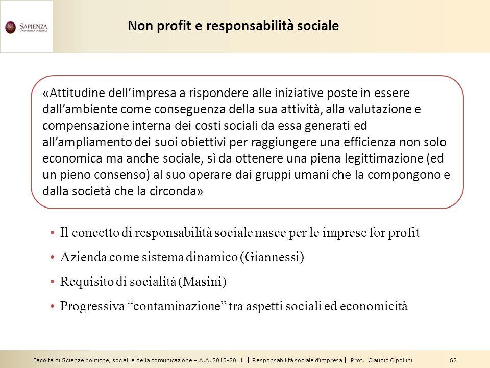 Facoltà di Scienze politiche, sociali e della comunicazione – A.A. 2010-2011 | Responsabilità sociale dimpresa | Prof. Claudio Cipollini 62 Non profit